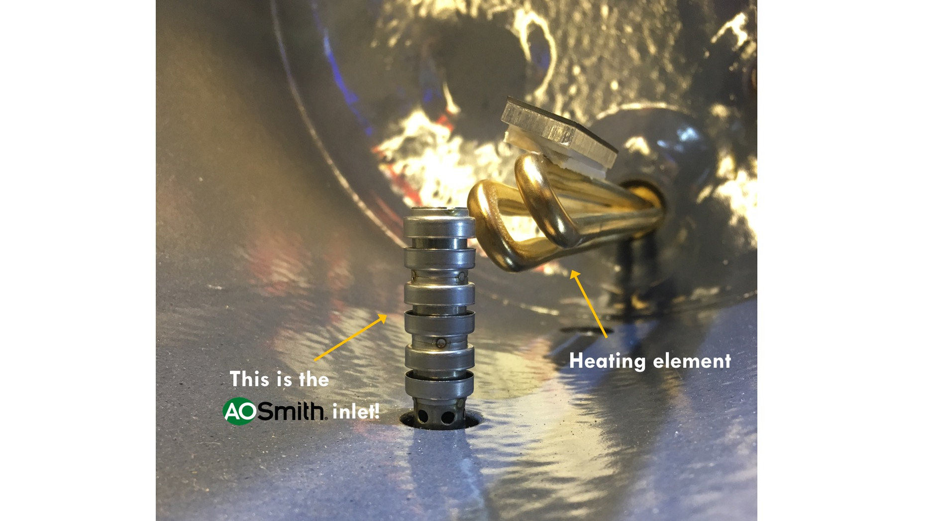 AOS inlet and heating element - Water Heater Singapore