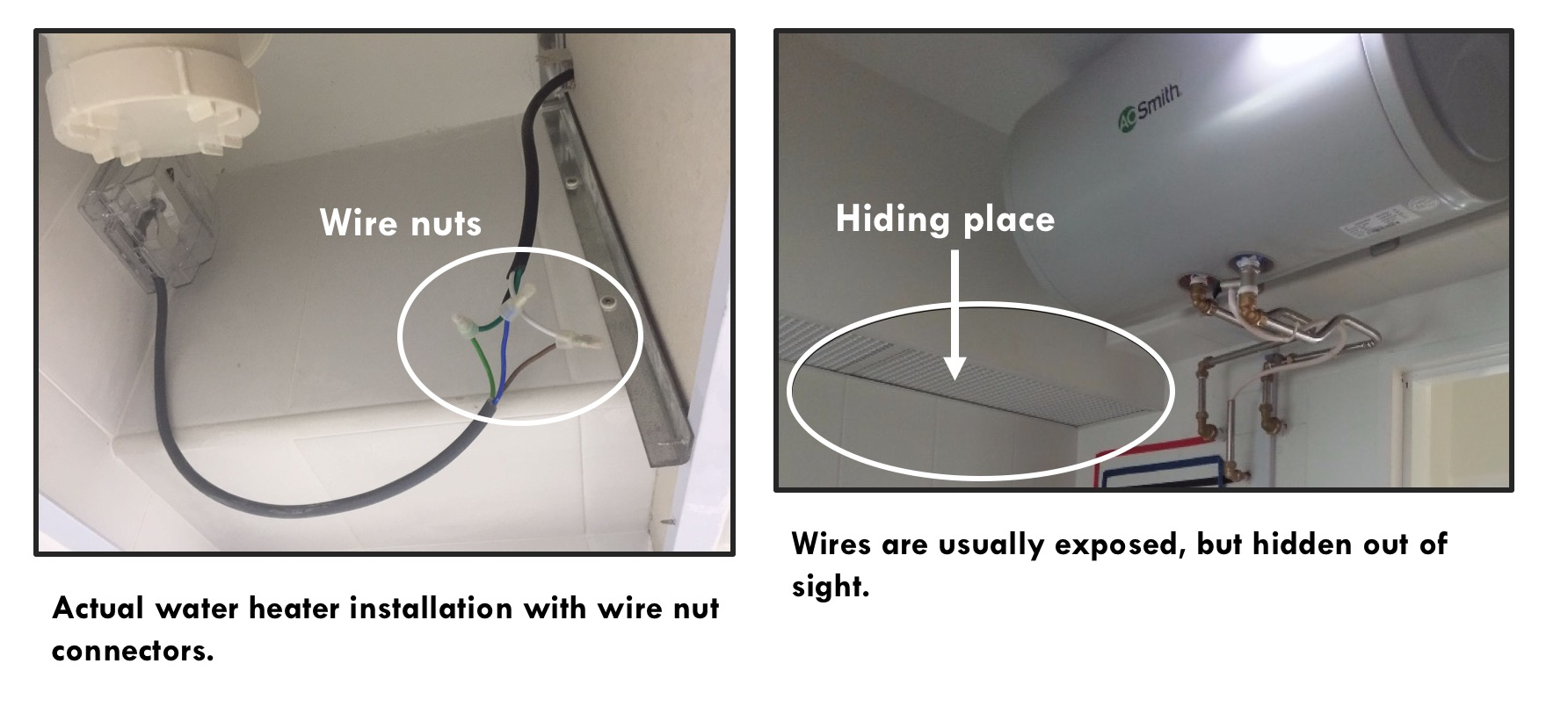 Avoid Electrocution 4 Tips Aos Bath Singapore Wiring A Ceiling Rose How To Wire Correctly Including Like Taped Wires Connectors Are Usually Left Exposed This Is 100 Safe The Run An Area That Hidden And Out Of Sight